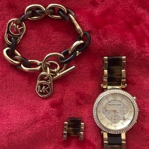 Michael Kors tortoise watch and bracelet set